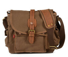 Vintage Canvas Leather Cross-Body Satchel School Military Shoulder Messenger Bag