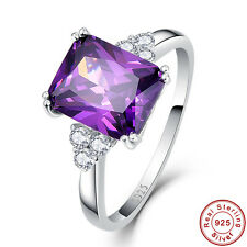 8x10mm 5.25CT Emerald Cut Amethyst Solid 925 Sterling Silver Ring Fine Jewelry