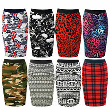NEW WOMENS LADIES PRINTED WAIST BAND BODYCON PENCIL MIDI SKIRT PLUS SIZE 8-22
