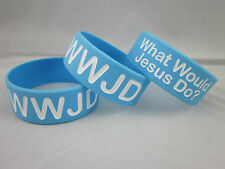 "WWJD What Would Jesus Do Silicone 1"" Wide Wristband Bracelet B6(2)"