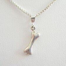 Dog Bone Elegant Sterling Silver Pendant Charm & Necklace- Free Shipping