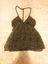 Guess By Marciano Black and White Floral Twisted Rope Halter Tank Top Cami XS