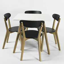 Contemporary Square-Shaped Table w/ 4 Chairs Complete Dining Set Charles Jacobs