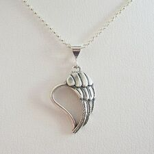 Angel Wing Heart Sterling Silver Pendant Charm and Necklace- Free Shipping
