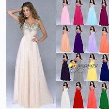 Stock Long Chiffon Formal Bridesmaid Dress Evening Ball Gown Party Prom Size6-18