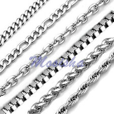 Cool Mens 1.5-9mm Silver 316L Stainless Steel Twist Curb Link Necklace HOT Gift