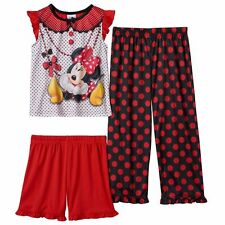 Disney Minnie Mouse Toddler Girls 3 Pc Pajama Set NWT 2T or 4T Top Short & Pants