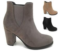 WOMENS LADIES FAUX SUEDE CHUNKY HIGH HEEL PLATFORM ANKLE BOOTS SHOES SIZE