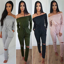 Womens Off The Shoulder Long Sleeve Party Playsuit Casual Jumper Jumpsuit Romper