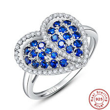 2.77CT Round Cut Women Sapphire 100% 925 Sterling Silver Ring Size L½ N½ P½ R½