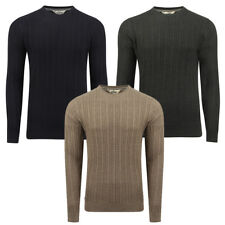 New Mens Tokyo Laundry Classic Cable Knit Slim Fit Basic Cotton Jumper Size S -
