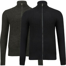 New Mens Tokyo Laundry Clancy Funnel Neck Ribbed Zip Up Knit Cardigan Size S-XXL