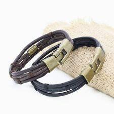 Men Women Braided Leather Surfer Wristband Bracelet Cuff Wrap Black Brown