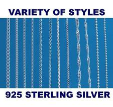 """925 Sterling Silver 14 16 18 20 22 24 26 28 30 """" Inch Chain CURB  BALL  BELCHER"""