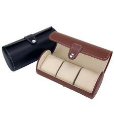 Travel Case PU Leather Roll Box Collector Organizer Jewelry Storage 3 Slot Watch