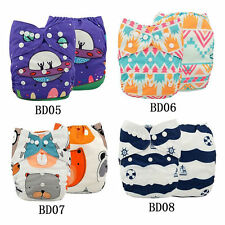 4 PCS Digital Print One Size Reusable Waterproof Baby Pocket Cloth Diapers