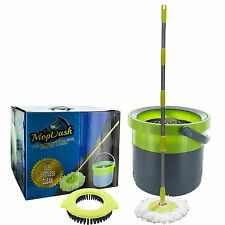 MopDash© Space Saving Spin Mop and Bucket, No Foot Pedal Needed With Scrub Brush