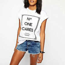 Women Letter Print Short Sleeve Cotton T-Shirt Summer Top Shirt Classy