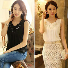 Women Lace Splicing Summer Tank Top Chiffon Sleeveless Vest Camisole Classy