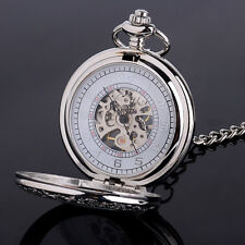 Hand-winding Mechanical Vintage Design Skeleton With Chain Man Pocket Watch Gift