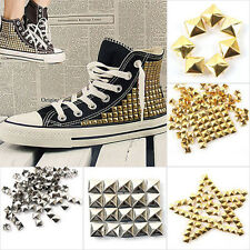 100pcs DIY Silver/gold Metal Punk Square Spike Rivet Studs Leathercraft 6-12mm