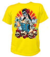 T-Shirt Classic DAY OF THE DEAD PIN UP SKULLS ROSES Rockabilly USA Vintage 17035