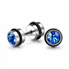 6mm Unisex Stainless Steel Fashion Dumbbell Shape Rhinestone Ear Studs Earrings