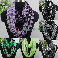 Stylish Women 2 Color Wool Blend Knitted Crochet Wave Infinity Loop Cowl Scarf