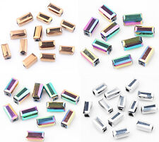 40/80PCS Faceted Cuboid Glass Crystal Charm Loose Spacer Beads Finding 7X4MM DIY