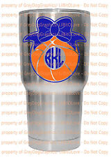Custom Yeti Size Basketball Monogram Vinyl Decal Your Initials Bow BBall Sticker