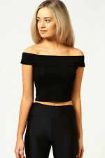 Ladies New Off Shoulder Crop Top Bardot Sleveless Vest Short T-Shirt 8 10 12 14