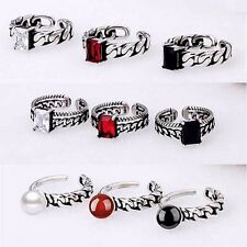Tibet Silver Plated Rings Adjust Band Men/Women Gems CZ Charming Fashion Jewelry