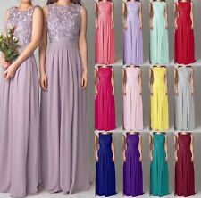 Sheer Lace Long Chiffon Evening Formal Prom Party Cocktail Bridesmaid Dress 6-18