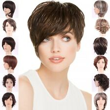 Brown Hairpiece Full Wig Short Straight Synthetic Full Head Costume Wigs 25STYLE