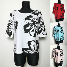 Plus size casual Grace floral tops blouse cotton white black size 14 22