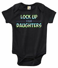 Lock Up Your Daughters Funny One-piece Baby Bodysuit Cute Baby Clothes