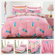 100% Cotton Quilt/Doona Cover Set Pink New Double Queen King Bed Duvet Covers