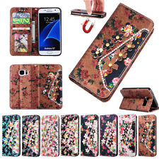 Magnetic Colorful Flower Crystal PU Leather Wallet Stand Case For iPhone Sony LG