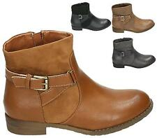 LADIES FAUX LEATHER / SUEDE STYLE LOW HEEL FLAT ZIP UP BIKER ANKLE BOOTS SHOES