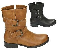 WOMENS COMBAT ARMY MILITARY WORKER BUCKLE STRAP FLAT BIKER ZIP LADIES ANKLE BOOT