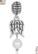 guardian Angel white pearl charm genuine sterling silver 925