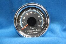 TACHOMETER SUN SUPER TACH II 8000RPM CHROME BEZEL w/ Mounting Bracket 3 3/8""