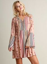 Umgee Women Dress Size S M L Boho Print Peasant Bell Sleeve Tunic Hippie BLUSH
