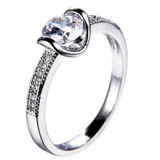 White Sapphire Round Band 10KT White Gold Filled Engagement Party Ring Size 6-10