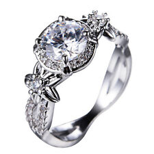White Sapphire Round Claw Band 10KT White Gold Filled Engagement Ring Size 5-11