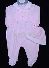 Baby Girls Pink Grey Satin Bow All in One Romper & Hat Set Newborn 0-3 Month