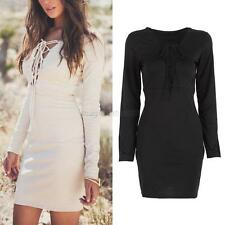 Women Lace-Up V-Neck Bodycon Dress Long Sleeve Party Cocktail Mini Dress
