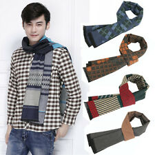 Men Fashion Wool Cotton Checks Plaids Scarves Winter Warm Long Scarf Wrap Shawl