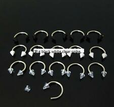 18g clear black white horseshoe spike cartilage Tragus helix earring piercing 4p