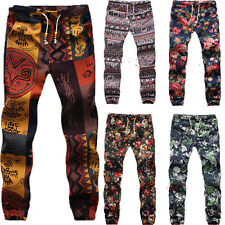 Boho Gypsy Men Exotic Pattern Hippie Slim Casual Linen Harem Pant Slack Trousers